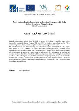 1.modul-Genetická metoda čtení
