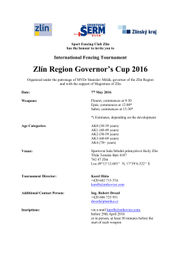 International Fencing Tournament Zlín Region Governor`s Cup 2016