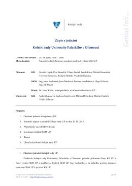 Zápis z jednání Kolejní rady Univerzity Palackého v Olomouci