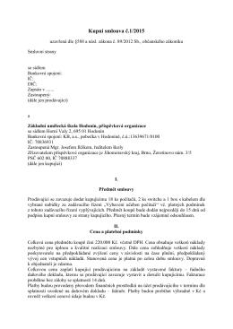 Kupní smlouva č.1/2015 - Základní umělecká škola Hodonín
