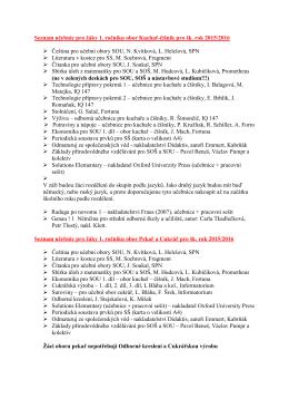 Seznam učebnic - Střední odborné učiliště společného stravování