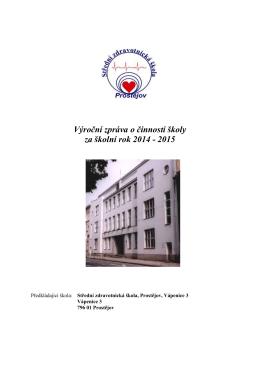 Výroční zpráva o činnosti školy za školní rok 2014 - 2015