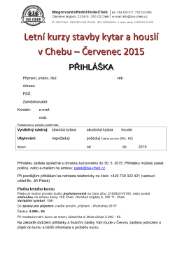 Letní kurzy stavby kytar a houslí v Chebu – Červenec 2015
