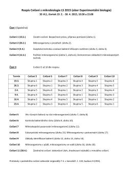 Rozpis Cvičení mikrobiologie LS 2006
