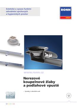 Nerezové koupelnové žlaby a podlahové vpustě
