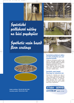 Syntetické podlahové nátűry na bázi pryskyfiice Synthetic resin