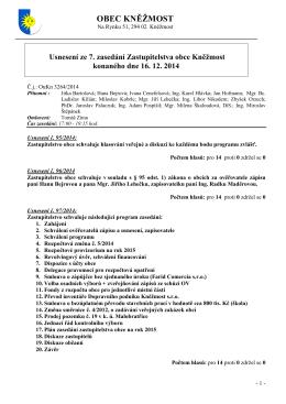 Usnesení ze zasedání č. 7/2014