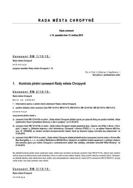 Výpis usnesení z jednání č. 15 ze dne 13. května