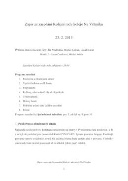 Zápis KR Na Větrníku 23. 2. 2015