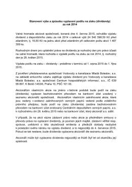 Způsob a výplata dividend - Vodovody a kanalizace Mladá Boleslav