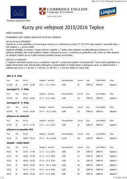 Kurzy pro veřejnost 2015/2016 Teplice