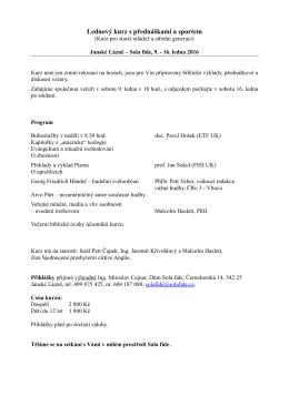 Lednový kurz s přednáškami a sportem