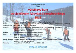Leták kurz 2016 - Lyžařský oddíl Kuřim