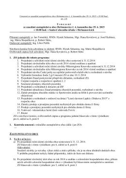 Usnesení č. 4 ZO Heřmanovice ze dne 29. 6. 2015