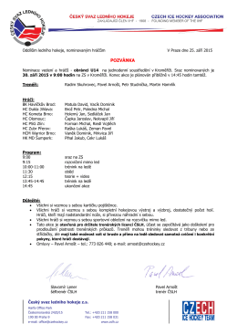 Pozvánka U14 - Jednodenní kemp obránců v Kroměříži