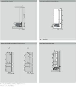 Potřebný prostor v korpusu Konstrukční rozměry pro montáž čela