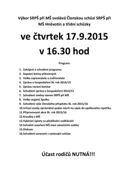 ve čtvrtek 17.9.2015 v 16.30 hod