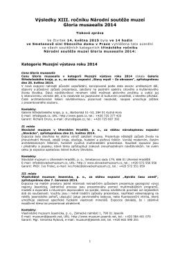 tisková zpráva výsledky Gloria muzealis 2014