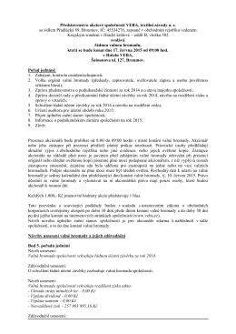 Oznámení o konání řádné valné hromady dne 17. 6. 2015