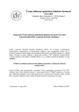 Stanovisko České odborné společnosti klinické farmacie ČLS JEP k