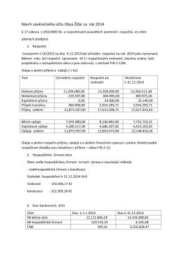 Návrh závěrečného účtu Obce Žďár za rok 2014