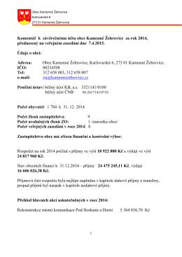 Komentář k závěrečnému účtu obce Kamenné Žehrovice za rok