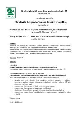 Efektivita hospodaření na lesním majetku - SVOL