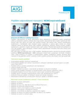 Pojištění odpovědnosti manažerů: NEWCorporateGuard