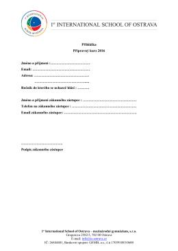 Přihláška Přípravný kurz 2016 Jméno a příjmení