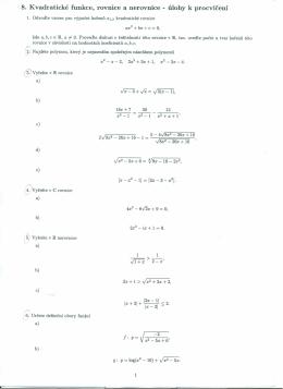 8. Kvadratické funkce, rovnice a nerovnice - úlohy k