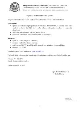Poptávka učitele odborného výcviku Integrovaná střední škola Cheb