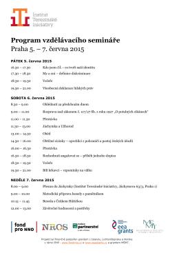 Program dvoudenního workshopu - Institut Terezínské iniciativy