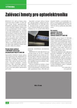 Zalévací hmoty pro optoelektroniku