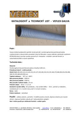 KATALOGOVÝ a TECHNICKÝ LIST - VEFLEX GALVA