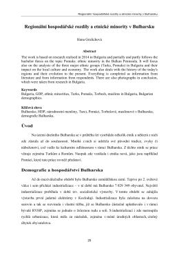 Regionální hospodářské rozdíly a etnické minority v