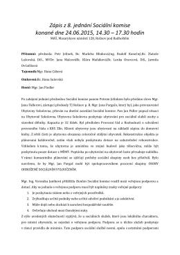 Zápis z 8. jednání Sociální komise ze dne 24.6.2015