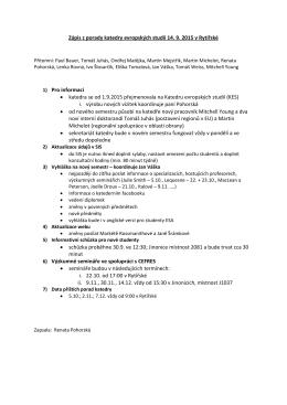 Zápis ze schůze katedry 14.9.2015