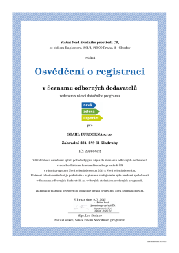Osvědčení o registraci - STAHL EUROOKNA s.r.o.