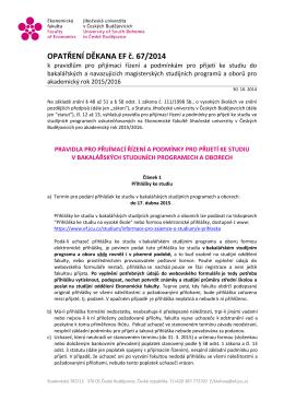 OPATŘENÍ DĚKANA EF č. 67/2014 - Ekonomická fakulta Jihočeské