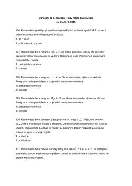 Usnesení z 8. zasedání Rady města Staré Město ze dne 9. 3. 2015