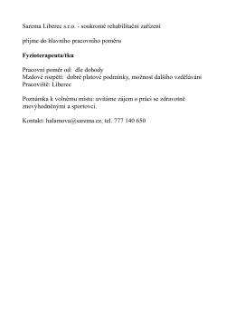 Sarema Liberec s.r.o. - soukromé rehabilitační zařízení přijme do