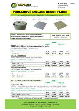 podlahová izolace Decor Floor - ALTOtec