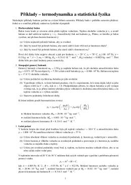 Príklady – termodynamika a statistická fyzika
