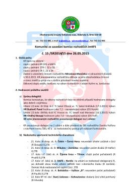 č. 15 /SR2014/15 dne 26.05.2015 - Jihomoravský krajský fotbalový