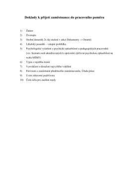 Doklady k přijetí zaměstnance do pracovního poměru