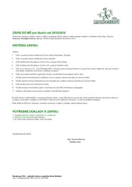kritéria přijetí pro 2015
