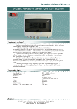 Ovládání rozhlasové ústředny pro 100V ozvučení