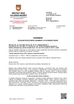 Oznámení o zahájení společného územního a stavebního řízení