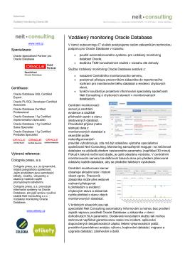 Datasheet - Vzdálený monitoring Oracle DB
