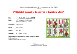 """Přátelský turnaj jednotlivců v kartách """"Prší"""" Kdy"""